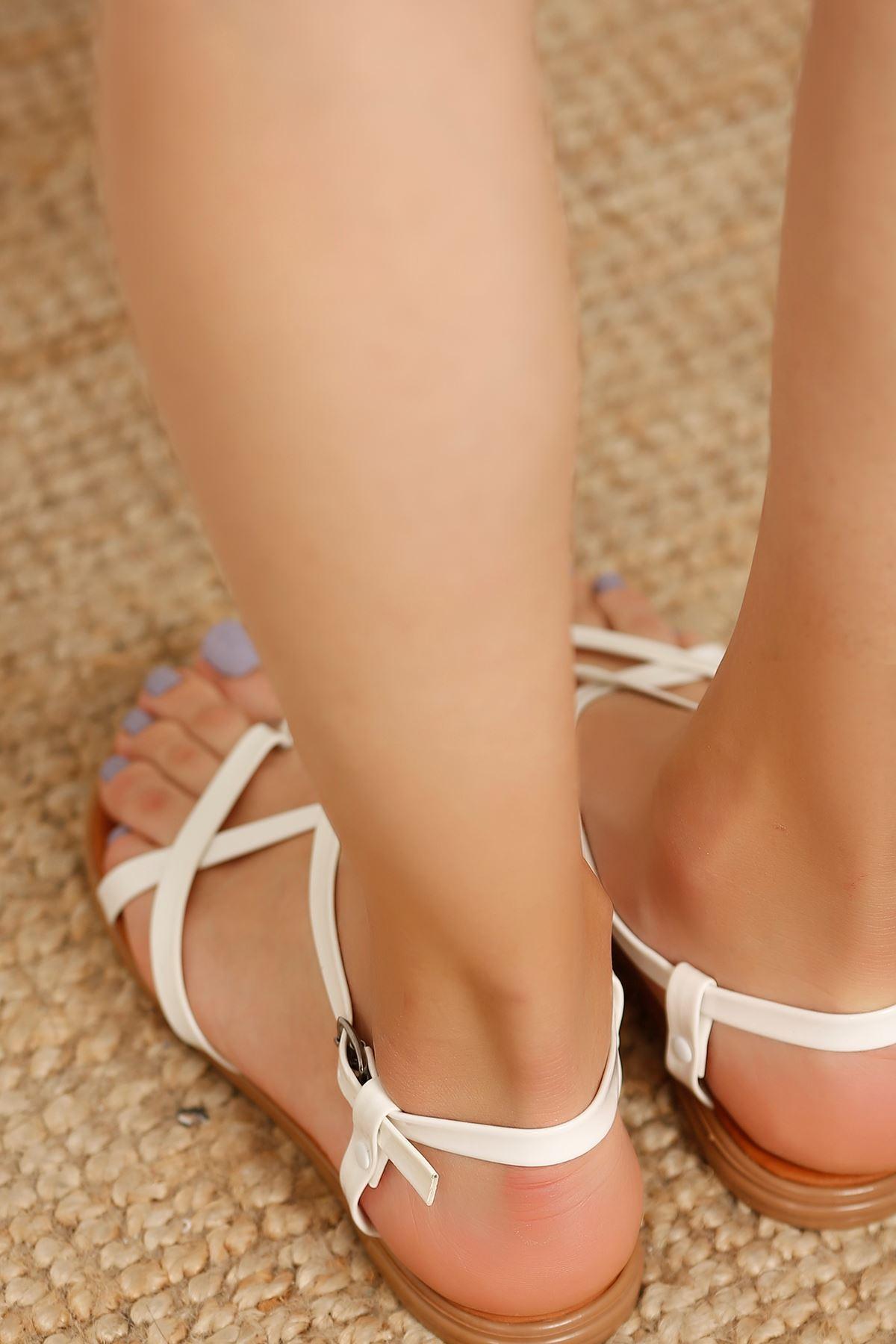 Parmak Arası Çapraz Sandalet Beyaz - 4162.264. - y.s