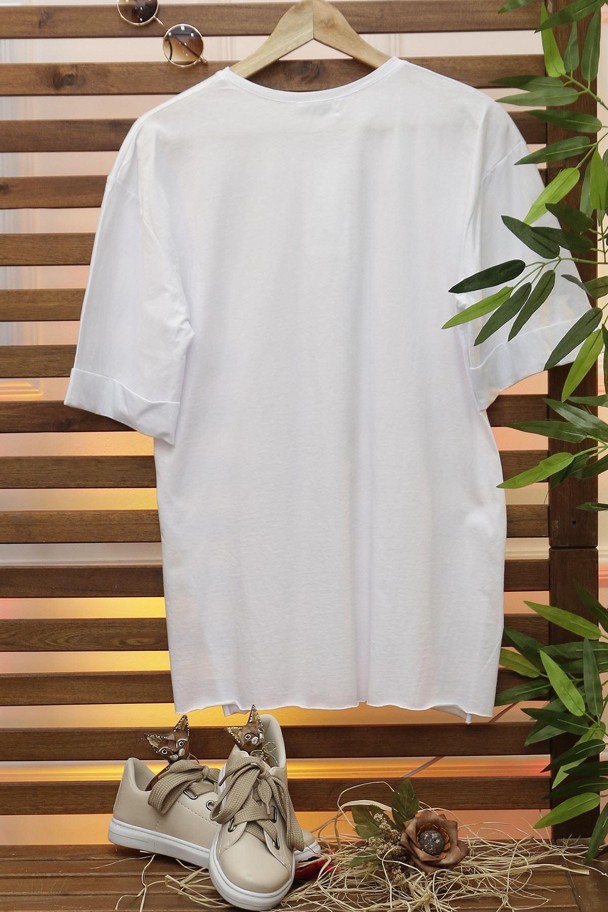 Baskılı Tişört Beyaz - 4074.720.