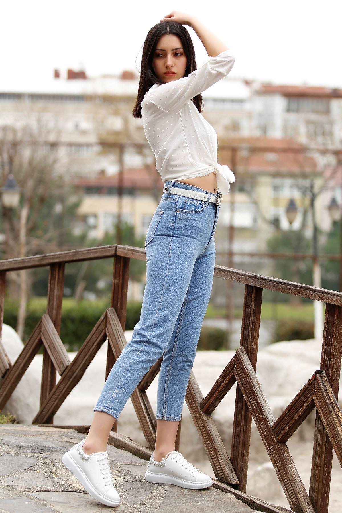 Kadın Mom Jeans Açıkmavi - 2411.392. - k.p