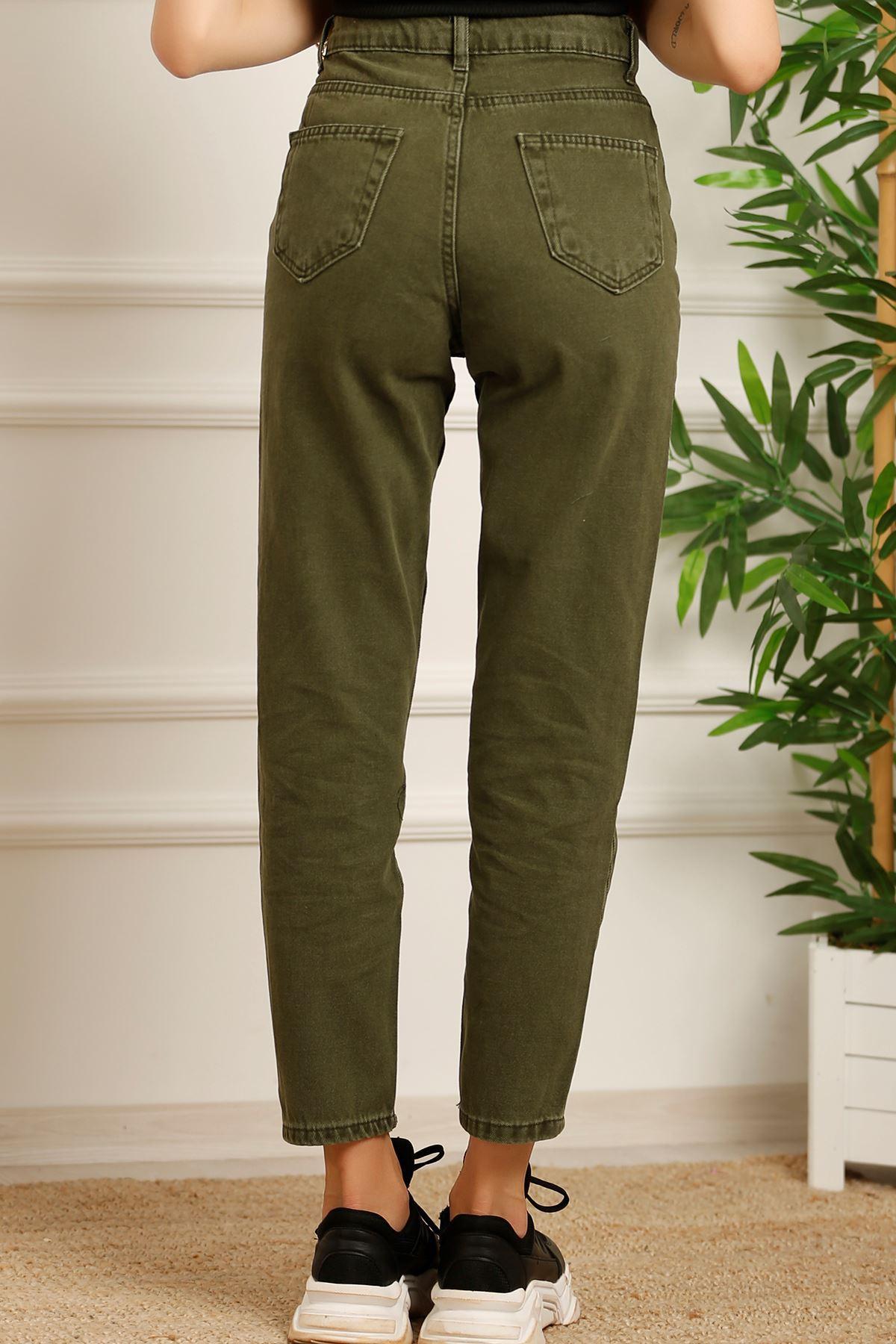Kadın Mom Jeans Koyuyeşil - 2411.392. - k.p
