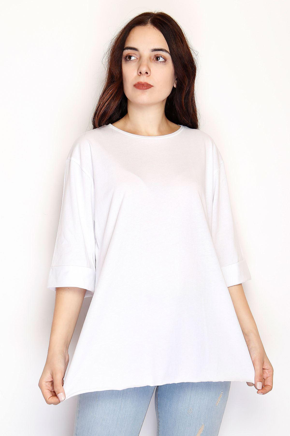 Yırtmaçlı Tunik Tişört Beyaz - 1073.275.