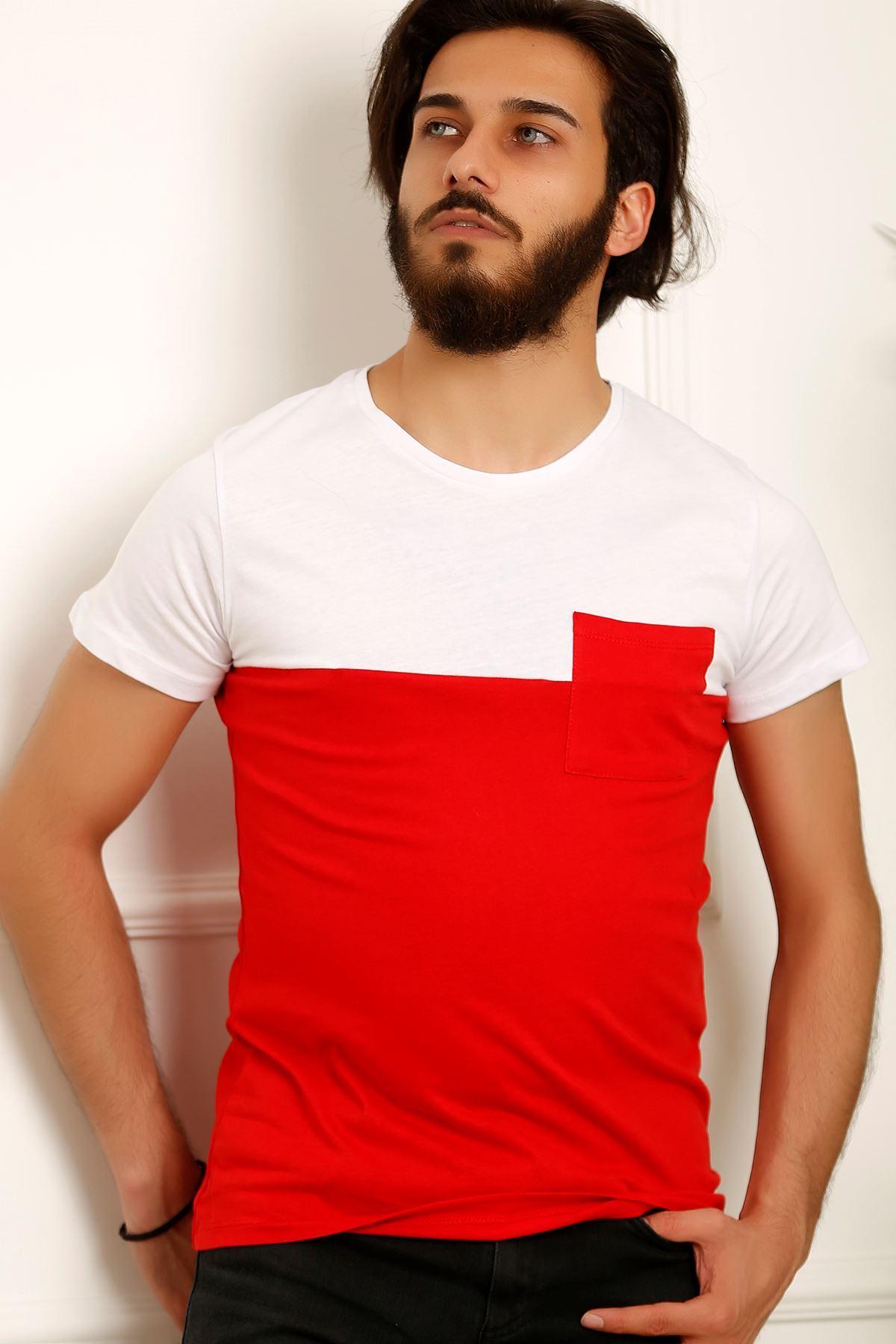 Erkek Parçalı Tişört Kırmızı - 3834.275.