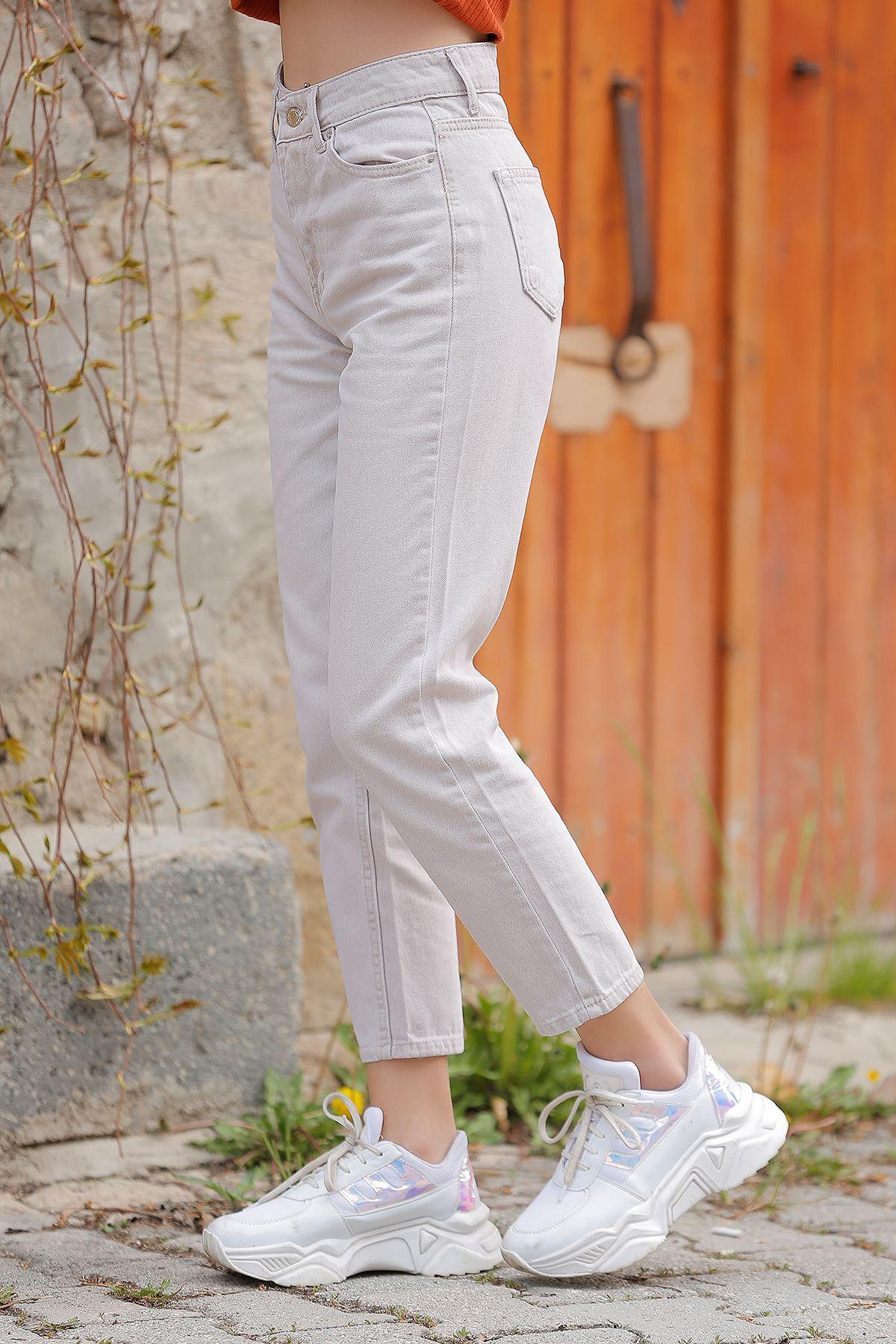 Kadın Mom Jeans Bej - 2411.392. - k.p - y.s