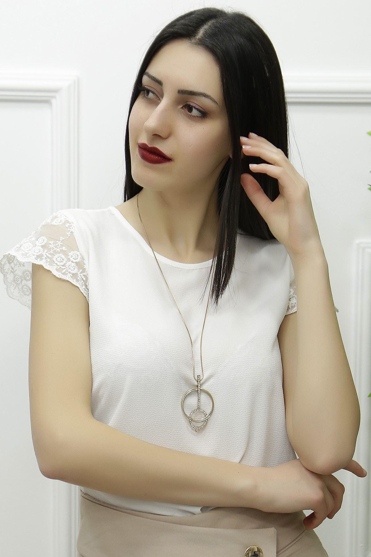 Kolu Tül Detaylı Bluz Beyaz - 3888.148. - y.s