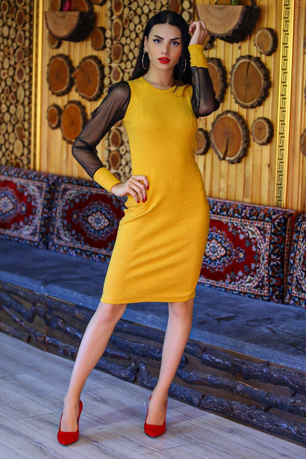 Kolları Tül Elbise Sarı - 4453.716.