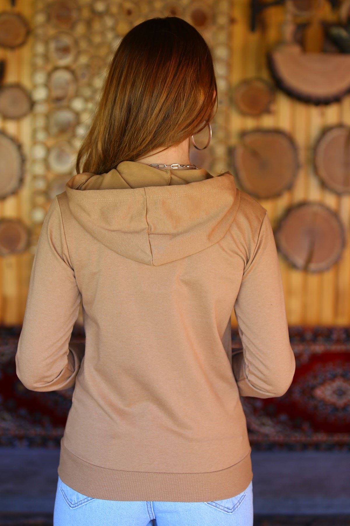 Fermuarlı Kapşonlu Sweat Camel - 3001.275.