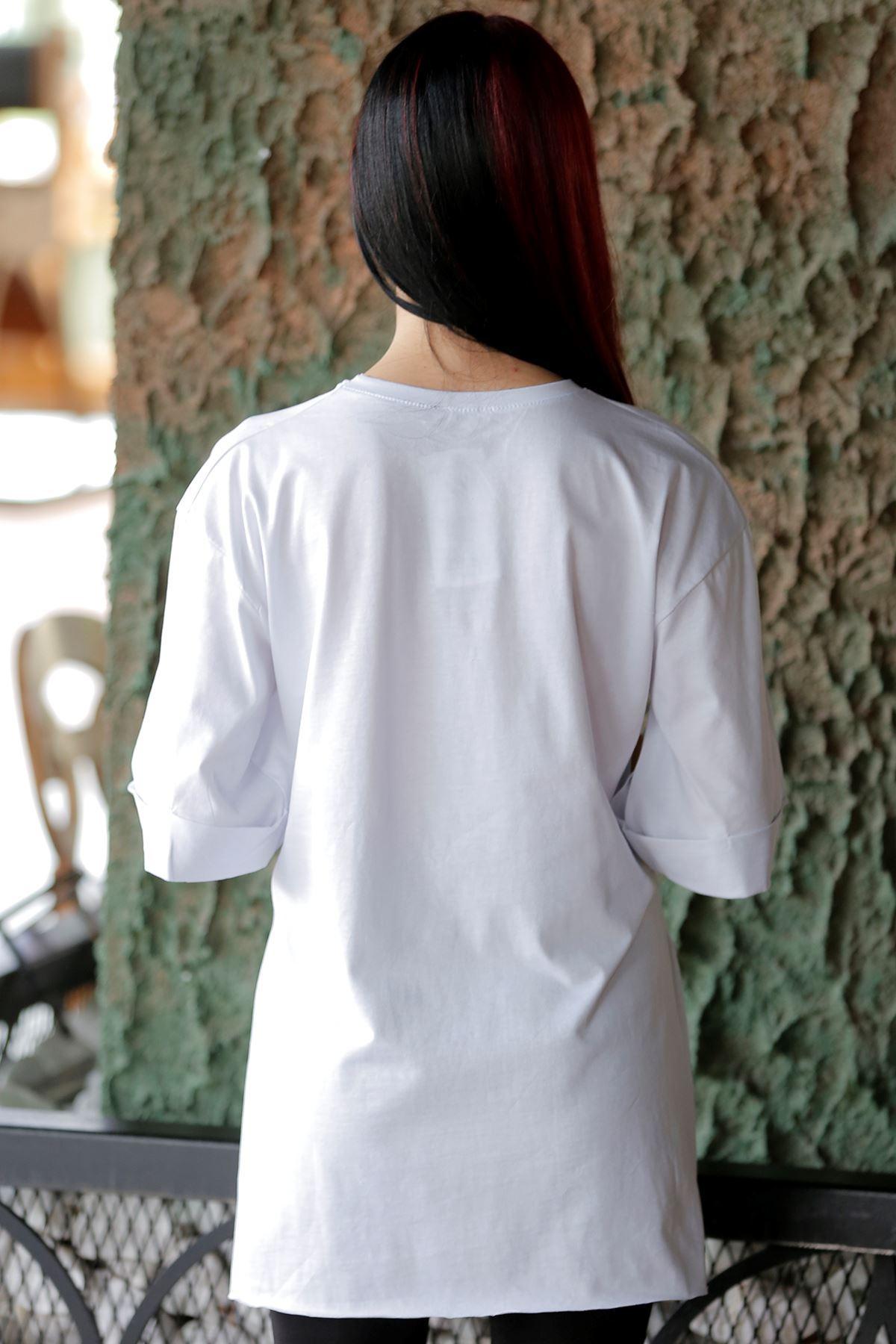 Yazılı Yırtmaçlı Tişört Beyaz - 4133.720.