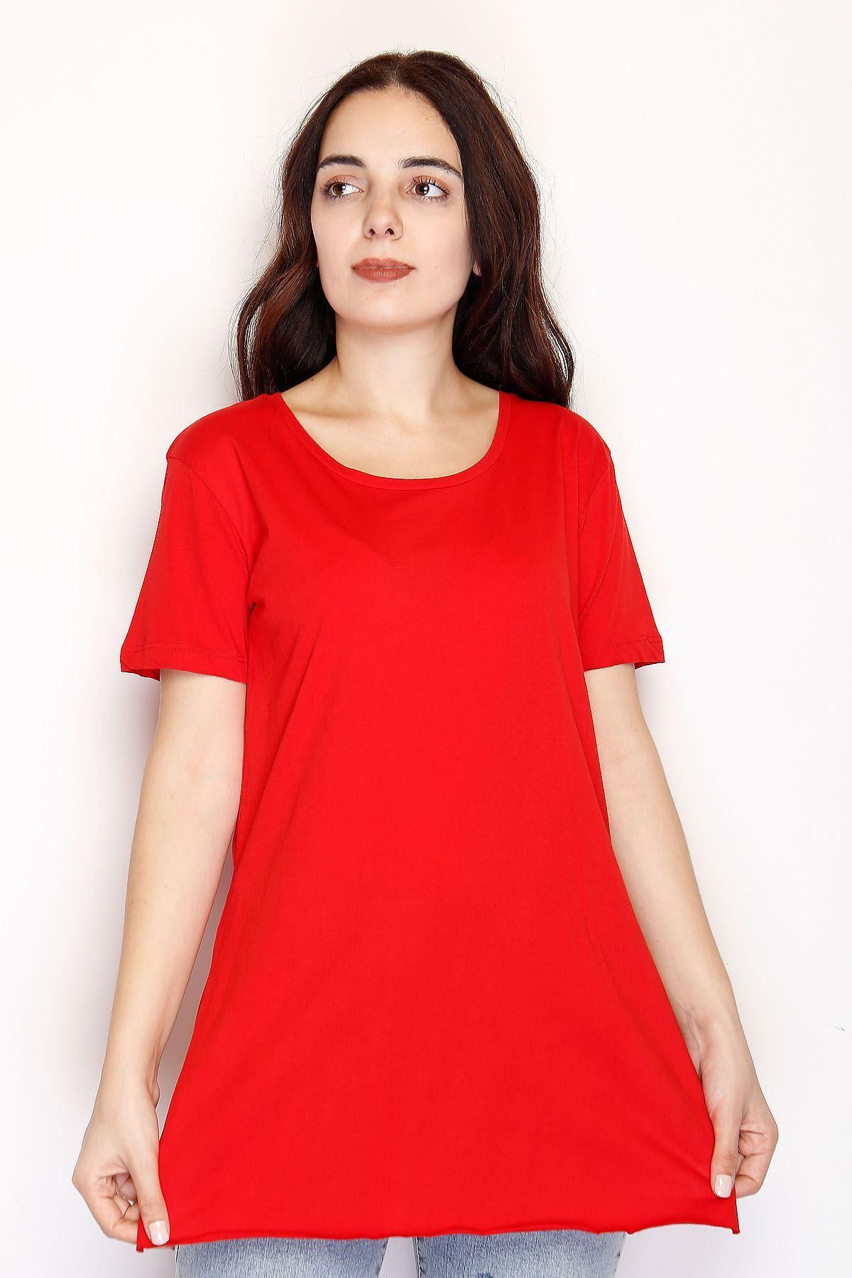 Yırtmaçlı Penye Tunik Tişört Kırmızı - 1063.275.