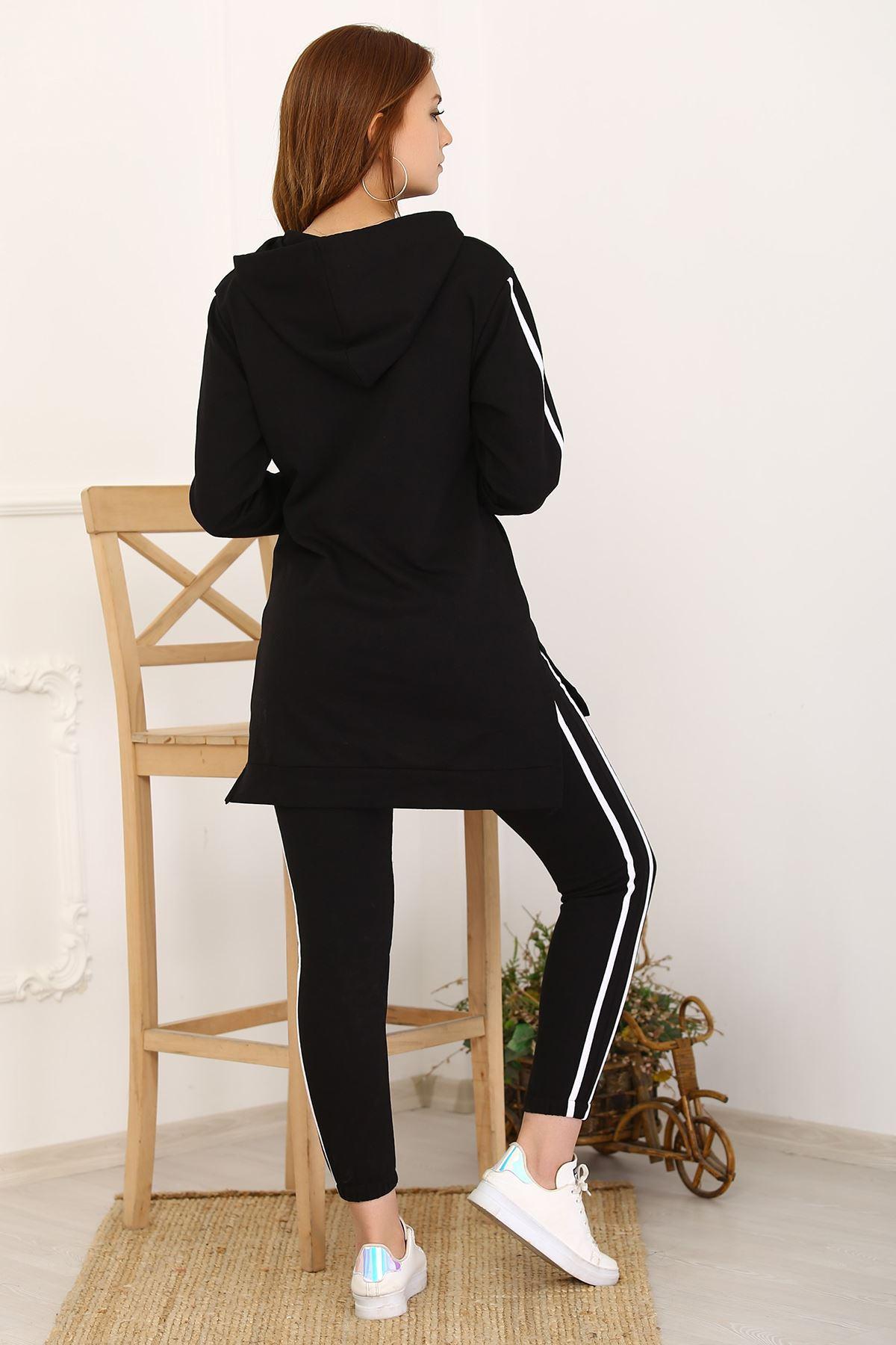 Kadın Eşofman Takımı Kapşonlu Tunik Siyah - 2772.1005.