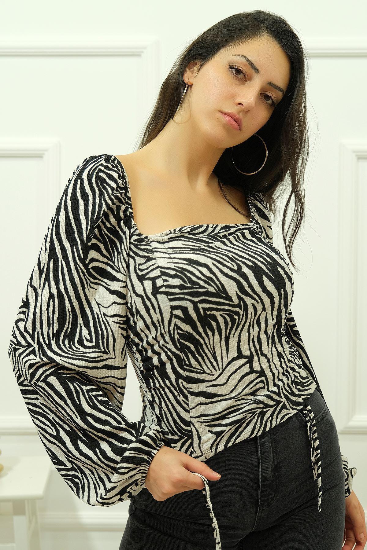 Çift Büzgülü Bluz Zebra - 4574.585.