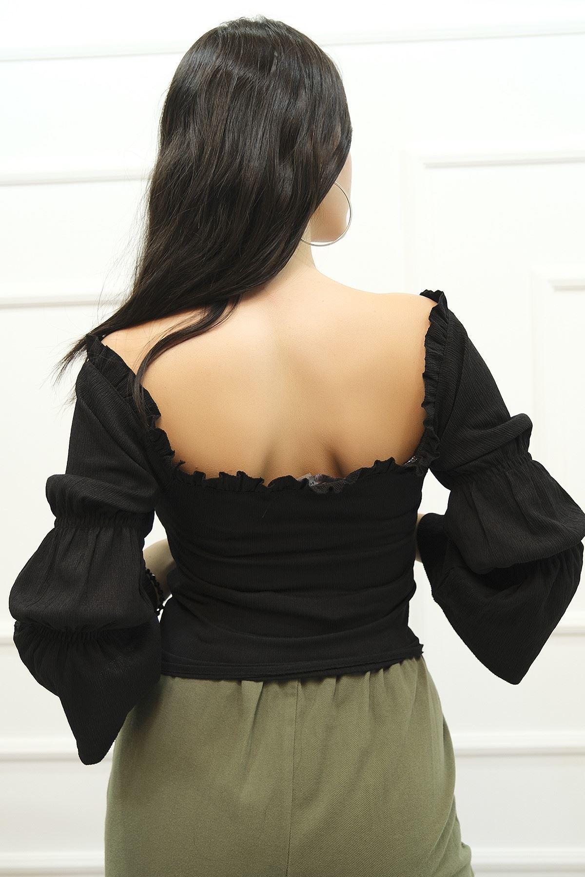 Büzgülü Bluz Siyah - 4572.585.