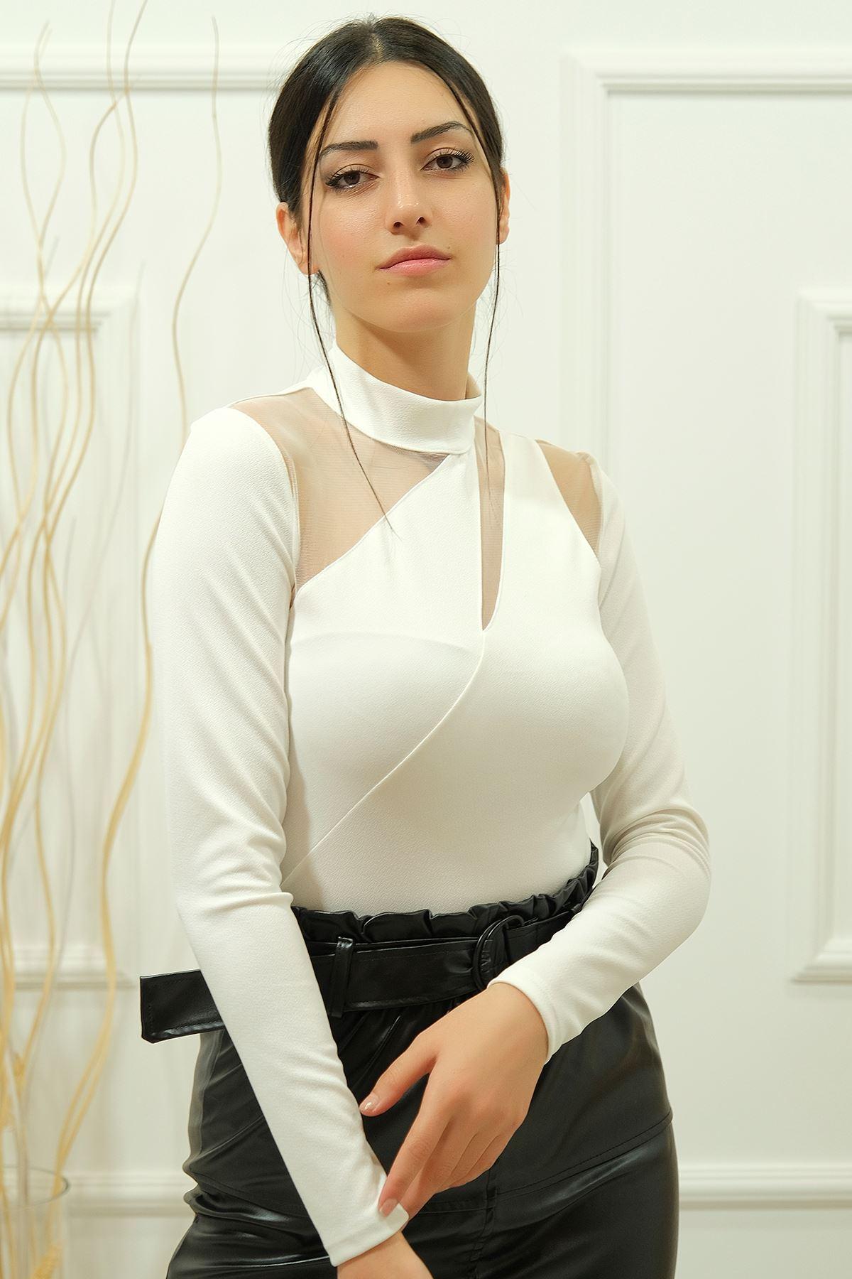 Tül Detaylı Bluz Beyaz - 8105.631.