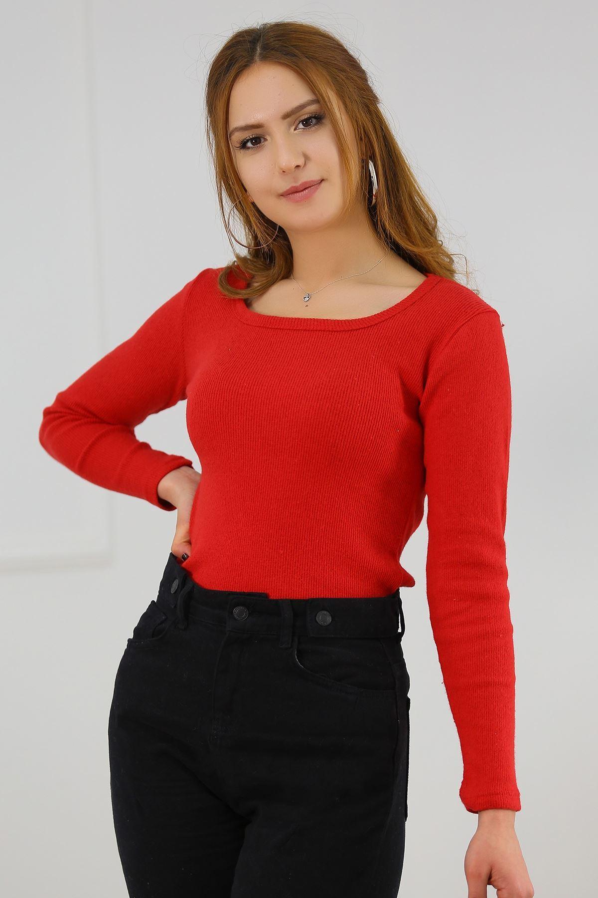 Kare Yaka Bluz Kırmızı - 4458.716.