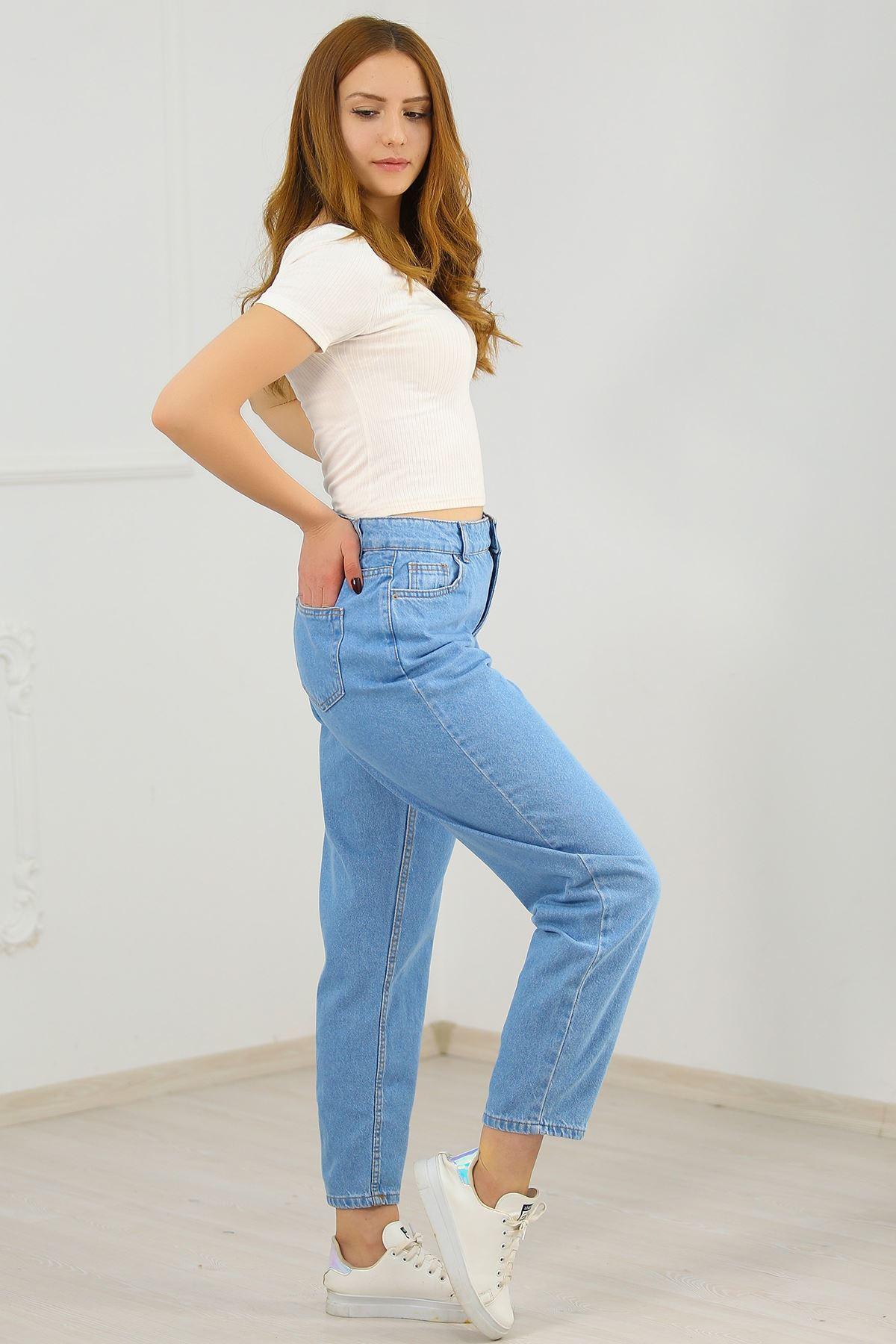 Büyük Beden Contalı Mom Jeans Açıkmavi - 7001.392.