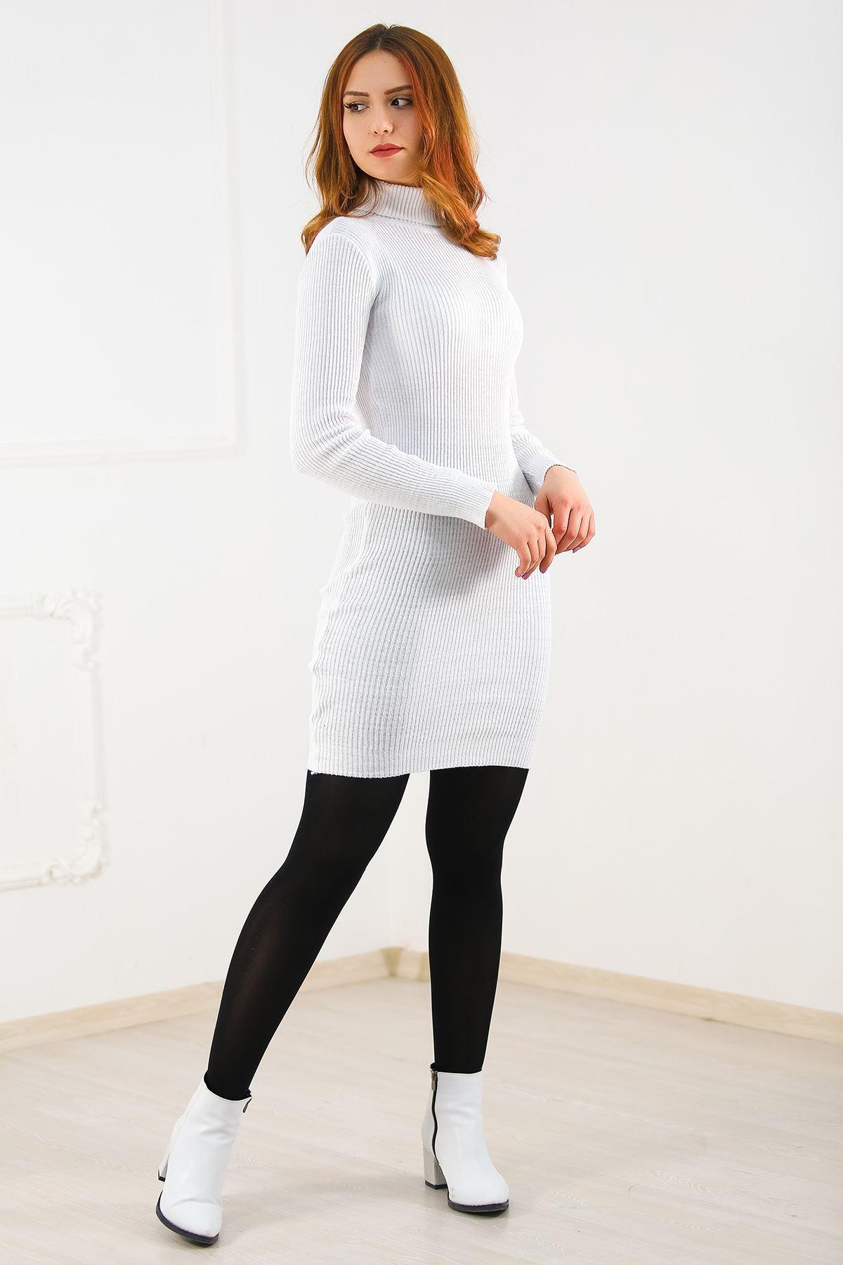 Balıkçı Triko Elbise Beyaz - 4638.1319.