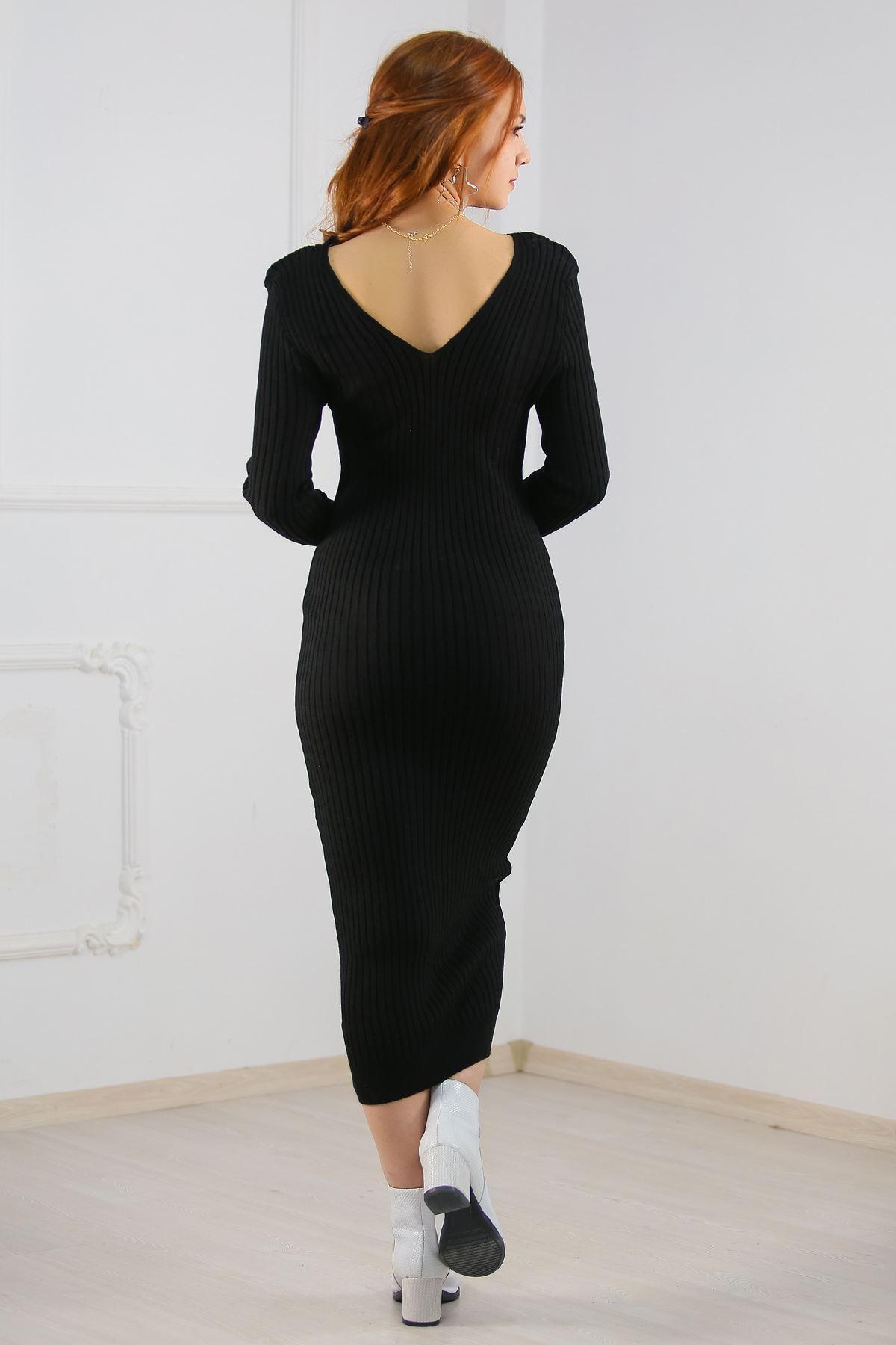 Uzun Triko Elbise Siyah - 6200.483.