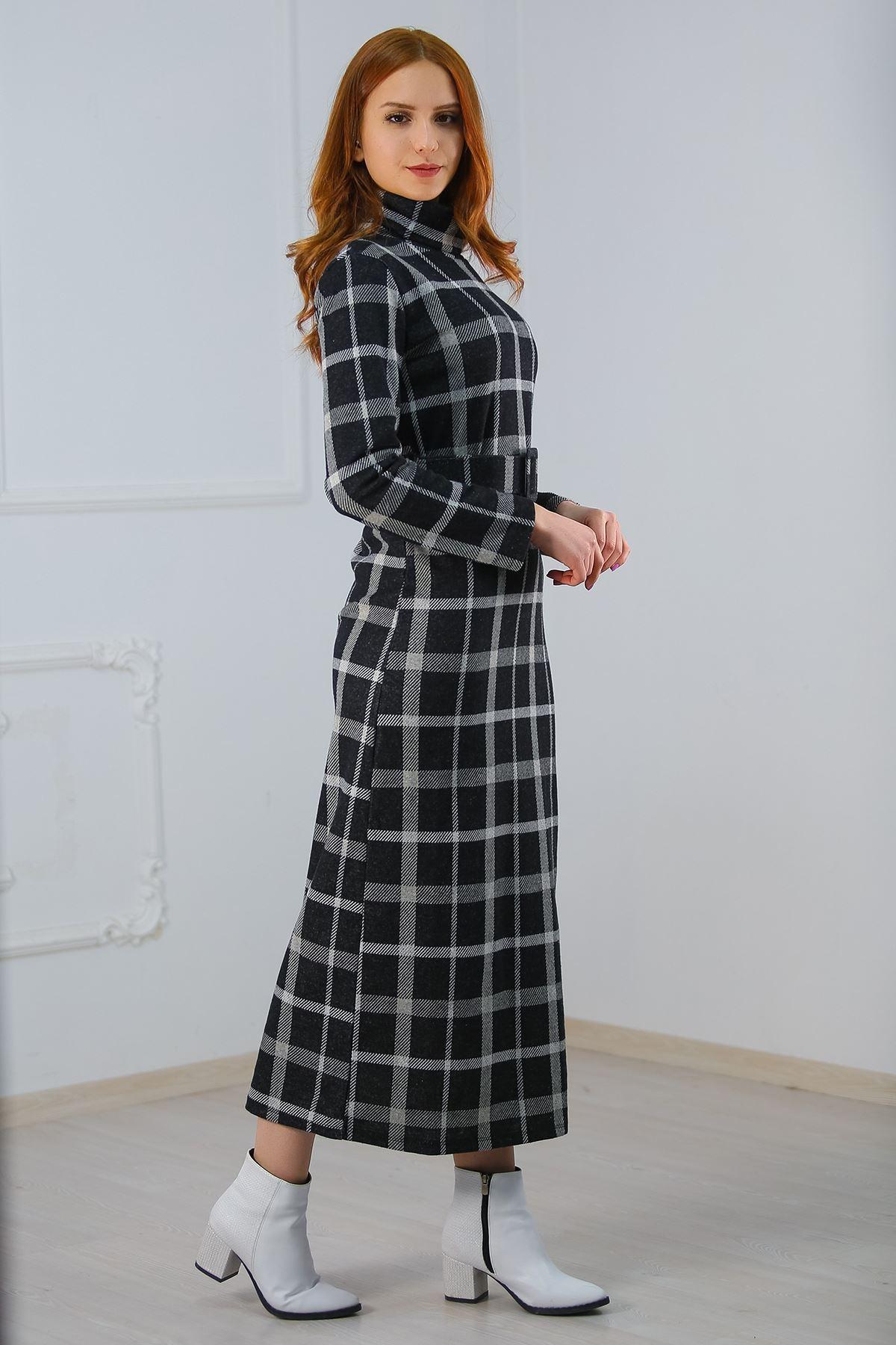 Balıkçı Yaka Elbise Siyahkareli - 8143.1146.