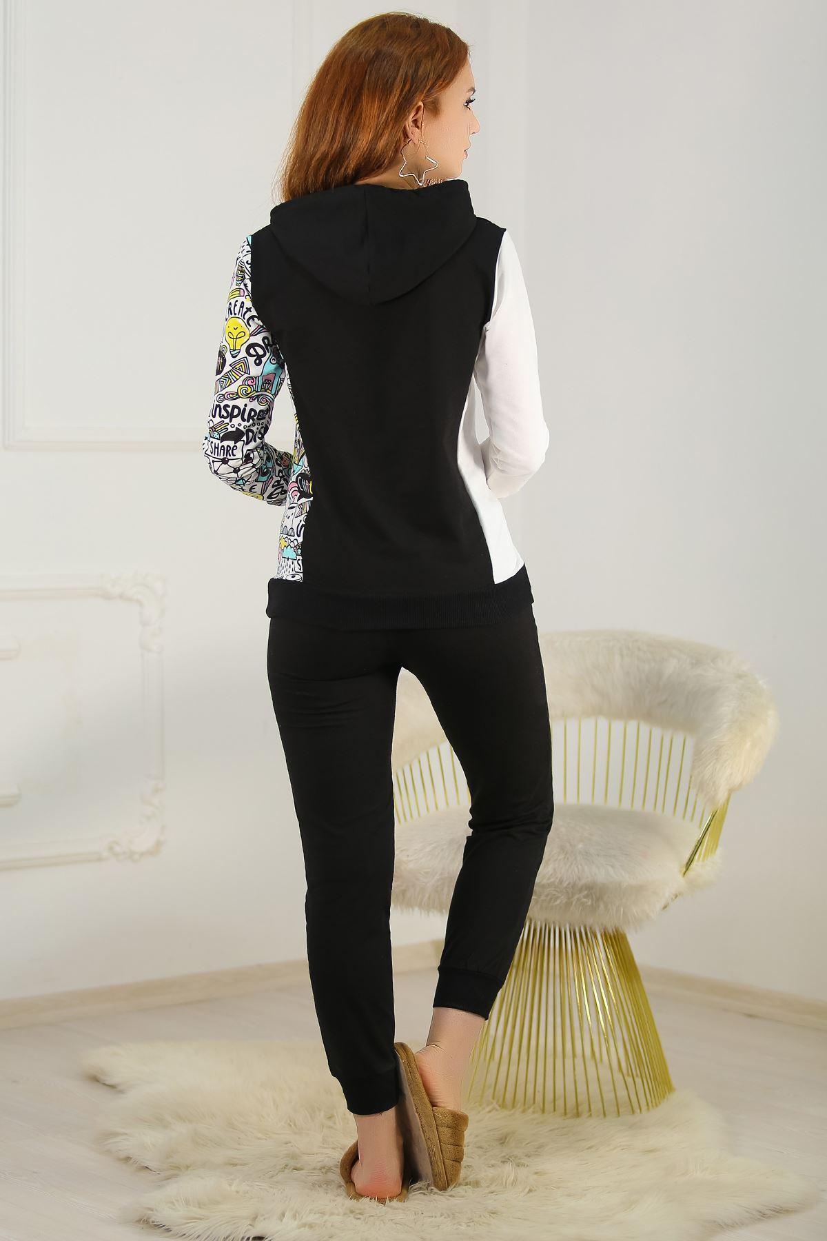 Kapşonlu Pijama Takımı Siyah - 4664.1059.