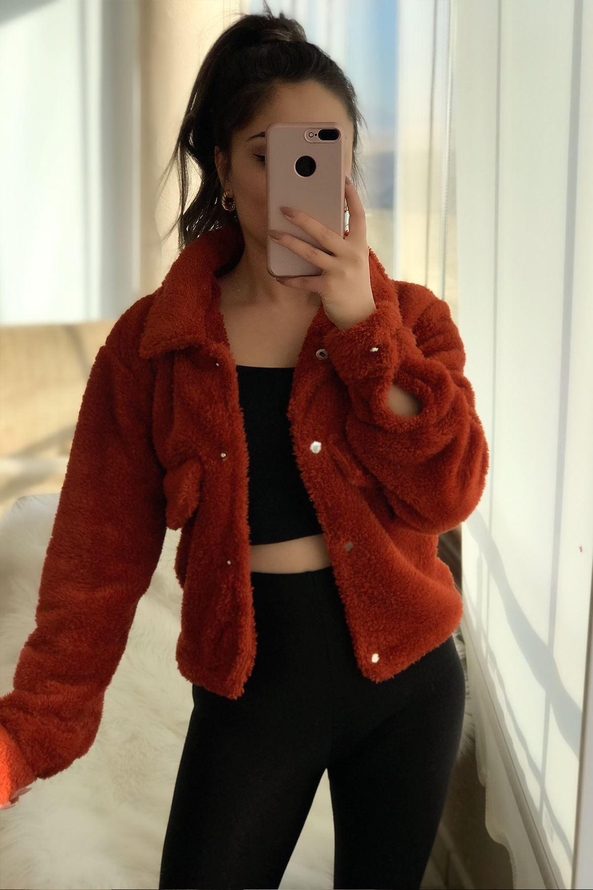 Kadın Kiremit Kısa Peluş Ceket