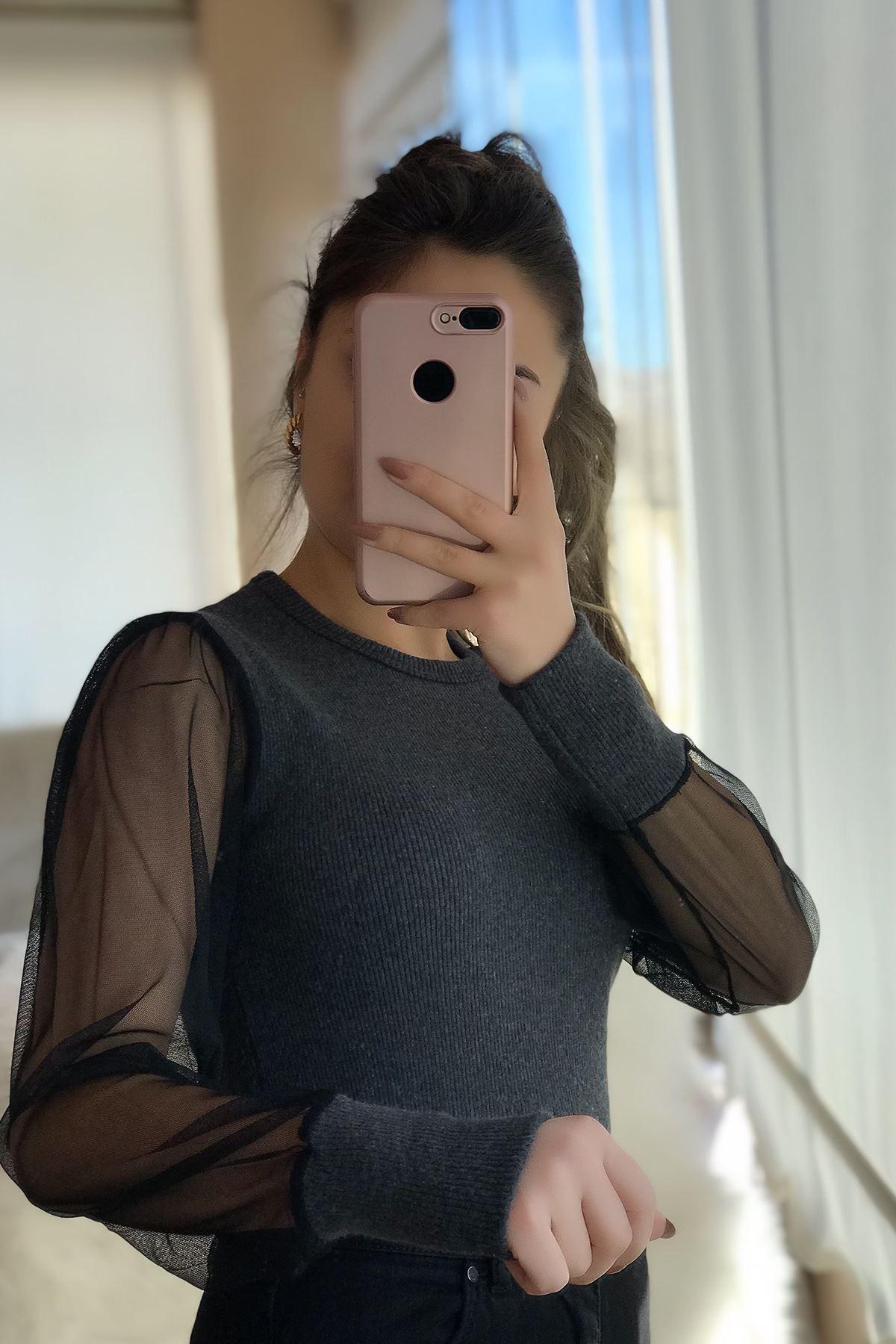Kadın Füme Kolu Tül Detaylı Bluz