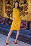 Kolları Tül Elbise Sarı - 4453.716. - y.s